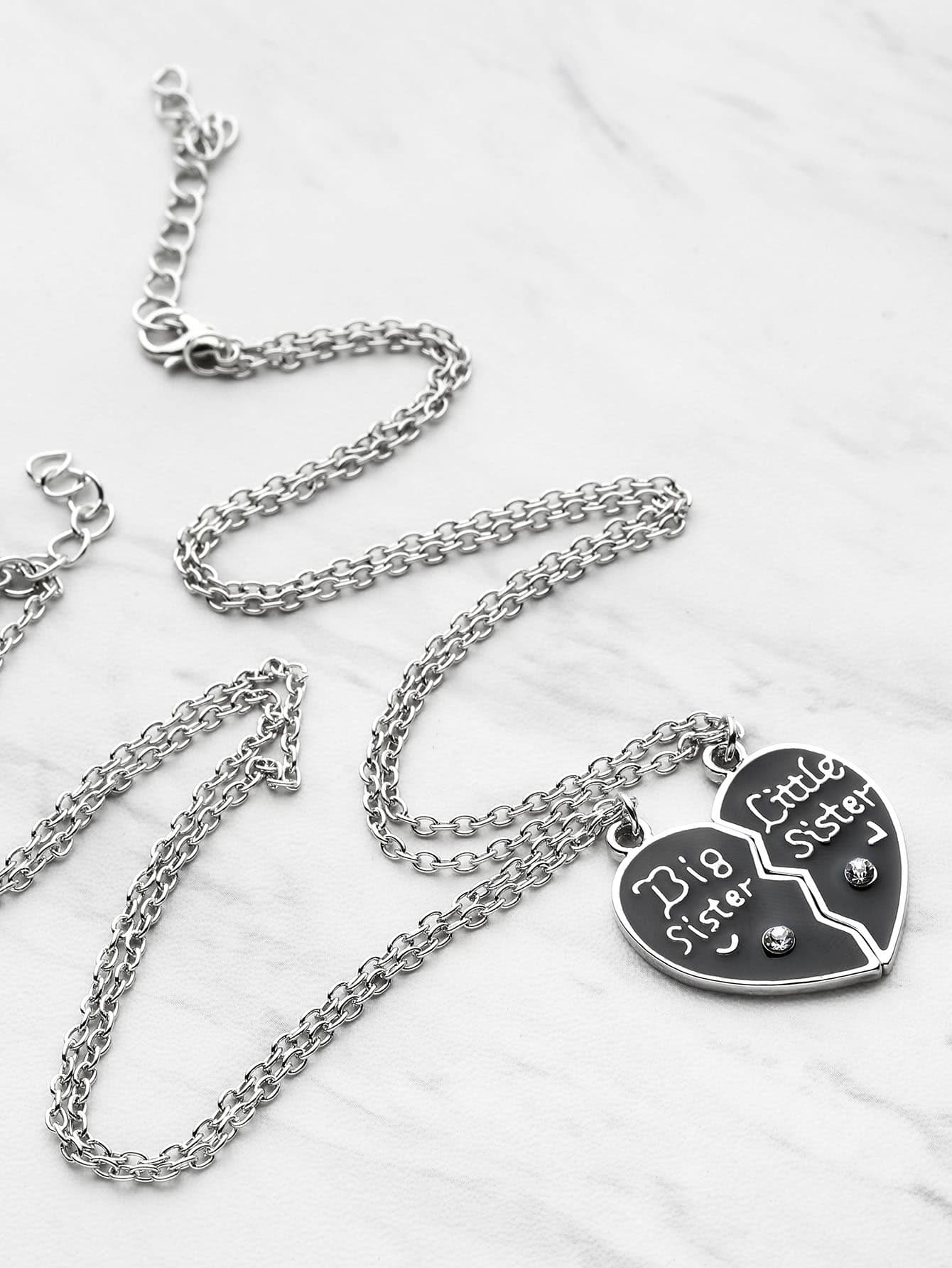 Heart Shaped Friendship Necklace  - 2pcs