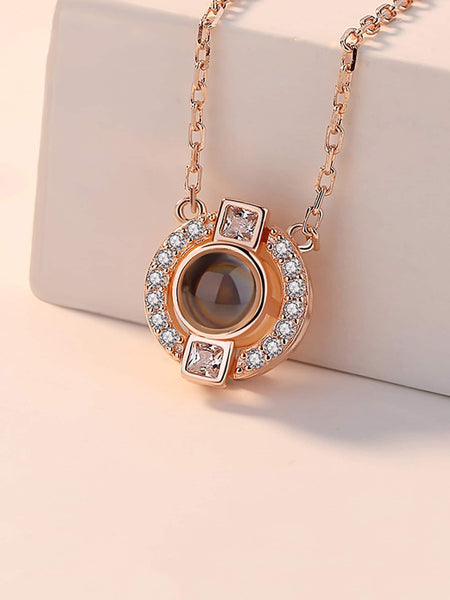 Ladies Gold Rhinestone Pendant Light Projection Chain Necklace