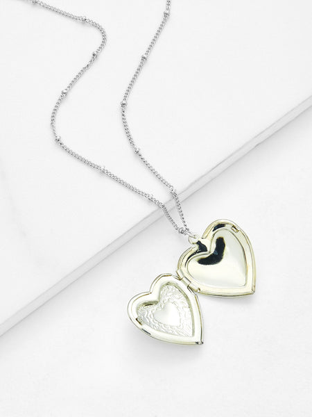 Women's Contrast Pink Heart Locket Pendant Chain Necklace