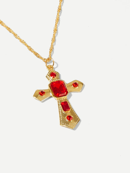 Gemstone Cross Pendant Necklace