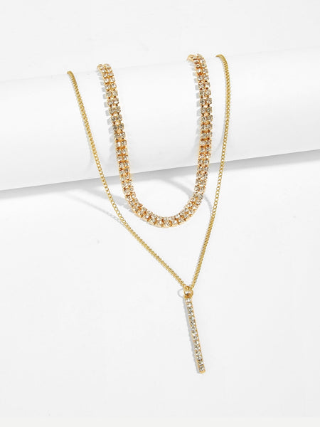 Women's Gold Rhinestone Choker & Bar Pendant Necklace