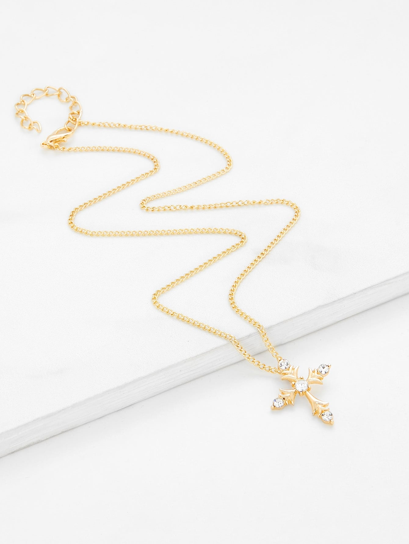 Gold Cross Pendant Chain Necklace With Gemstones - Unisex