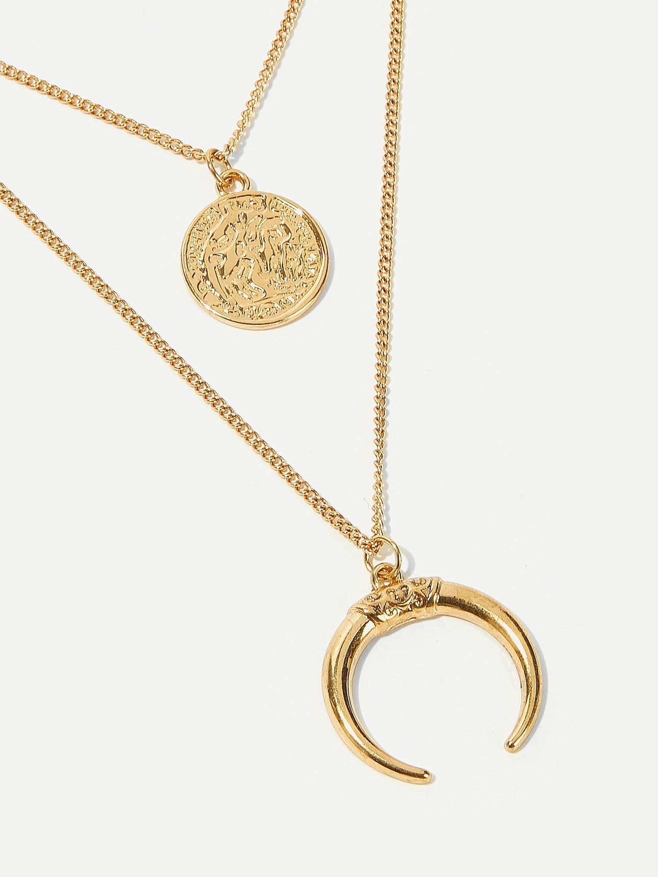Women's Gold Moon & Round Pendant Layered Necklace