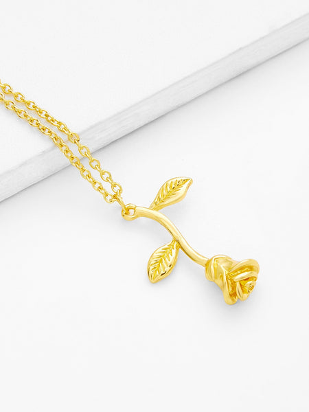 Women's Gold Metal Flower Pendant Chain Necklace