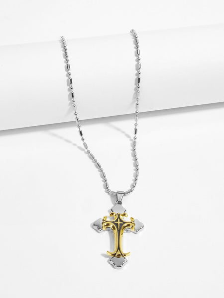 Men's Stainless Steel Gold Cross Pendant Necklace