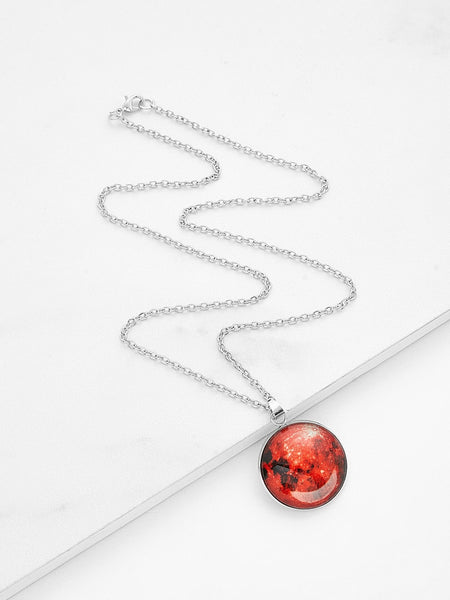 Women's Red Luminous Round Pendant Link Necklace