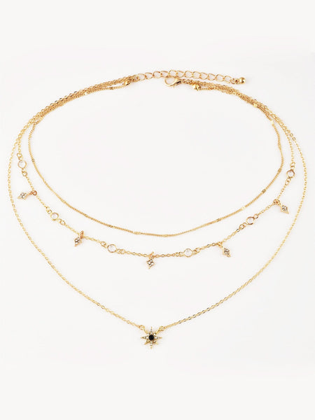 Women's Gold Star Charm Layered Chain Necklace With Gemstones