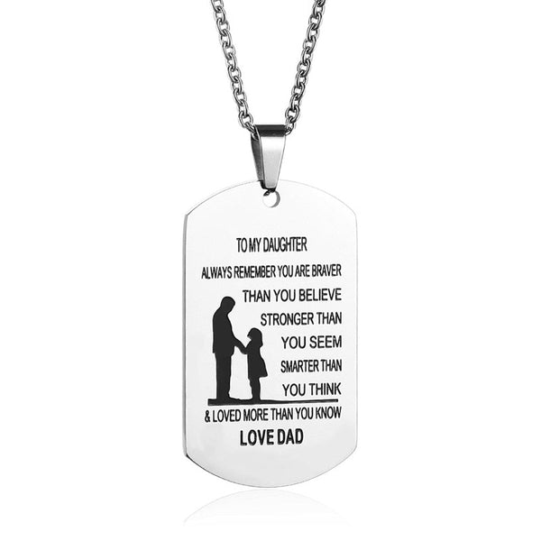 Stainless Steel Engrave Name Love Dad/Mum ID Tag Pendant Necklaces - Ideal Family Jewelry Gifts