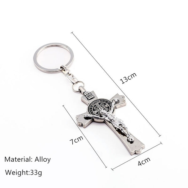 Men's All Saint Jesus Christ INRI Crucifix Cross Suspension Pendant Key Ring chain Jewelry - Unisex