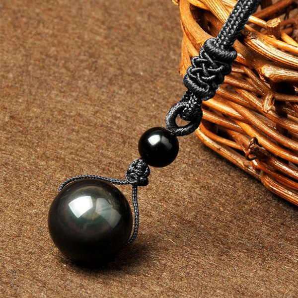 Natural Black Obsidian Rainbow Buddhism Psychic Protection Eye Ball Stone Pendant Necklace - Unisex