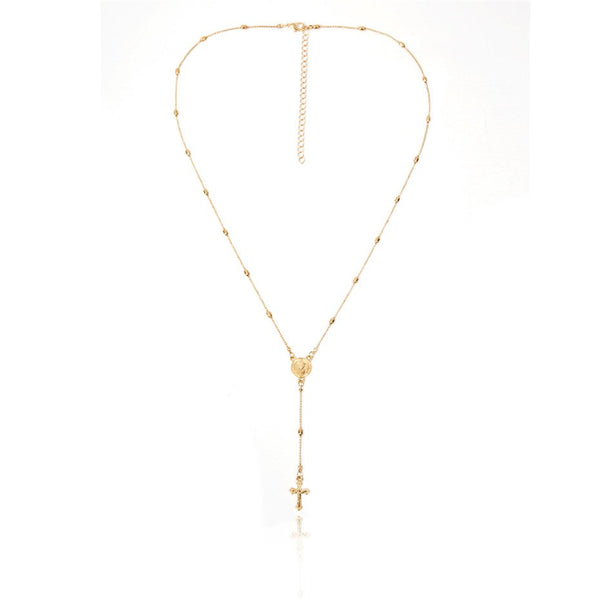 Women's Bohemia Layered Christian Cross Pendant Choker With Golden Beads Long Chain Necklace Jewelry