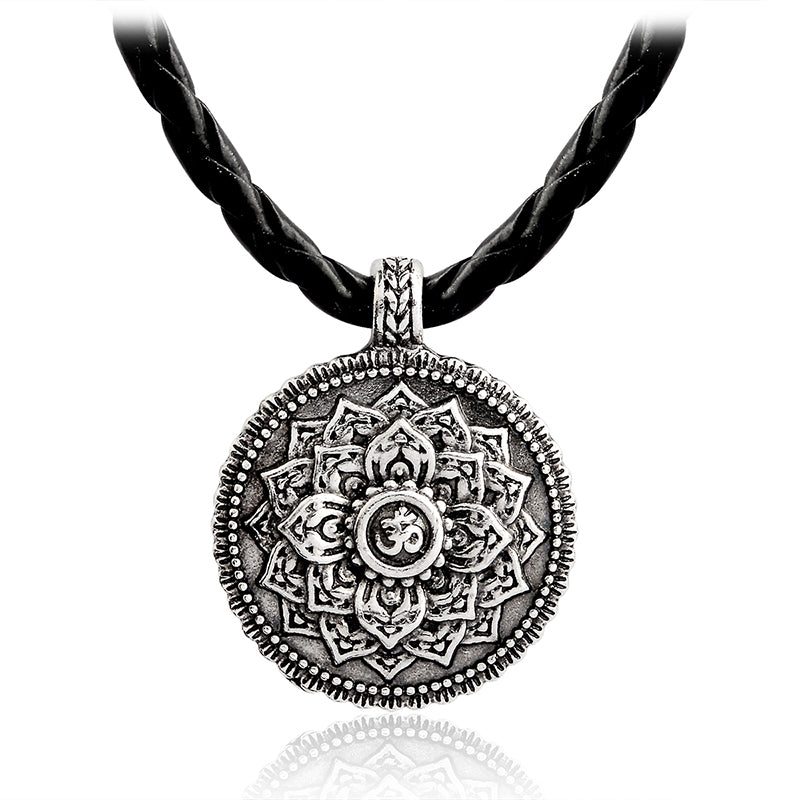 Flower of Life Necklace Yoga Chakra Mandala Pendant Ancient silver Zen Buddha Religious Jewelry