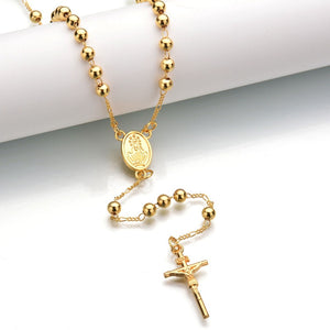 Gold/Silver Rosary Beads Blessed Goddess Pendant INRI Jesus Cross Necklace - Religious Jewelry