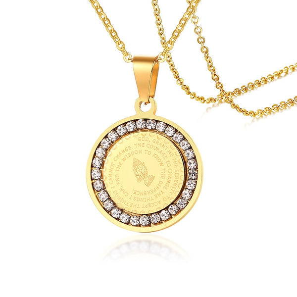 Gold/Silver Medal Hand Coin Zirconia Serenity/Lords Prayer Verse Pendant Necklace Jewelry
