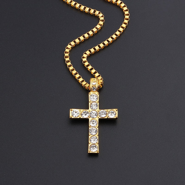 Gold Color Religious Cross Pendant Iced Out Hip Hop Crystal Zircon Cuban Necklace Jewelry For Men