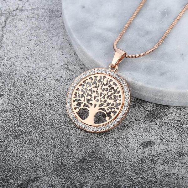 Women's Gold/Silver Small Round Crystal Tree Of Life Pendant Necklace -  Elegant Jewelry Gifts
