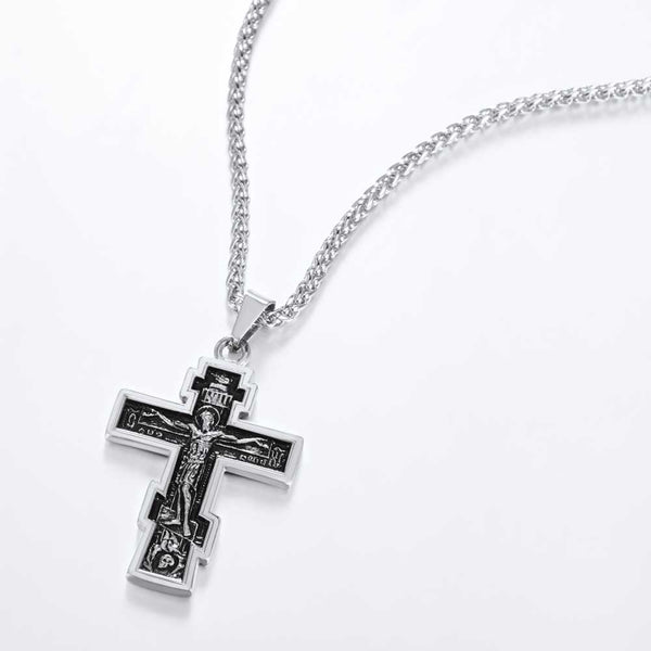 Stainless Steel Gold Color INRI Crucifix Cross Pendant Necklace - Unisex