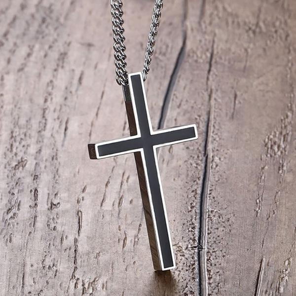 Stainless Steel Black Resin Inlay Pendant Cross Necklace Chain - Unisex