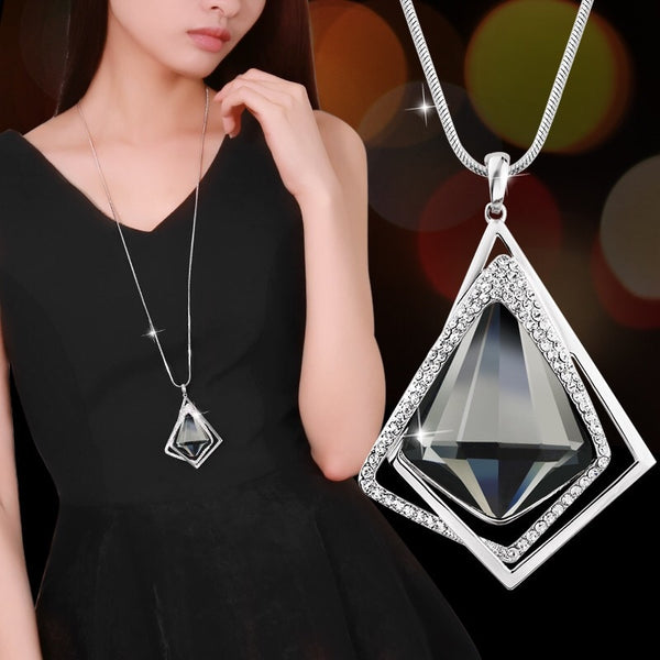Women's Geometric Statement Long Fashion Crystal Pendant Necklace Bijoux Jewelry