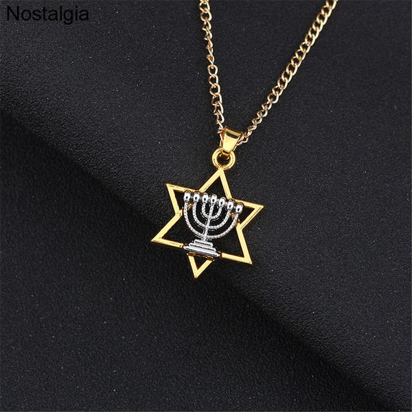 Star Of David Jewish Hebrew Judaism Faith Lamp Hanukkah Pendant Necklace - Unisex