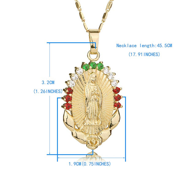 Women's Oval Gold Virgin Mary Maria Statement Catholic Religious Necklace Jewelry