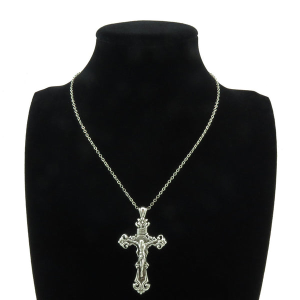 Silver Flower Crucifix INRI Jesus Cross Pendant Chain Necklace - Religious Jewelry Gifts