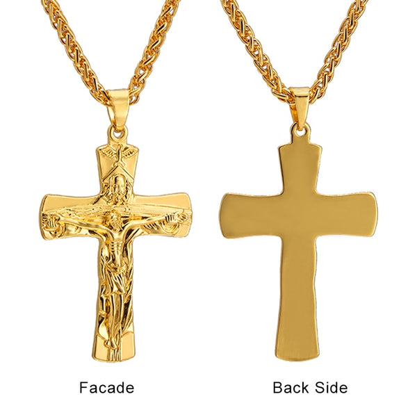 Men's Christian INRI Crucifix Gold/Steel/Gun black Color Pendant Necklace - Beautiful Jewelry Gifts