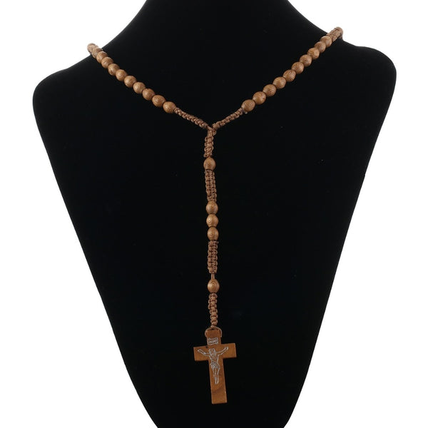 Saint Benedict Medal Antique Wooden Rosary INRI Crucifix Cross Pendant Necklace Religious Jewelry