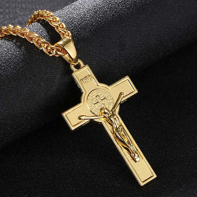 Men's Jesus INRI Gold/Silver Crucifix Cross Pendant Necklace Chain Jewelry - Unisex