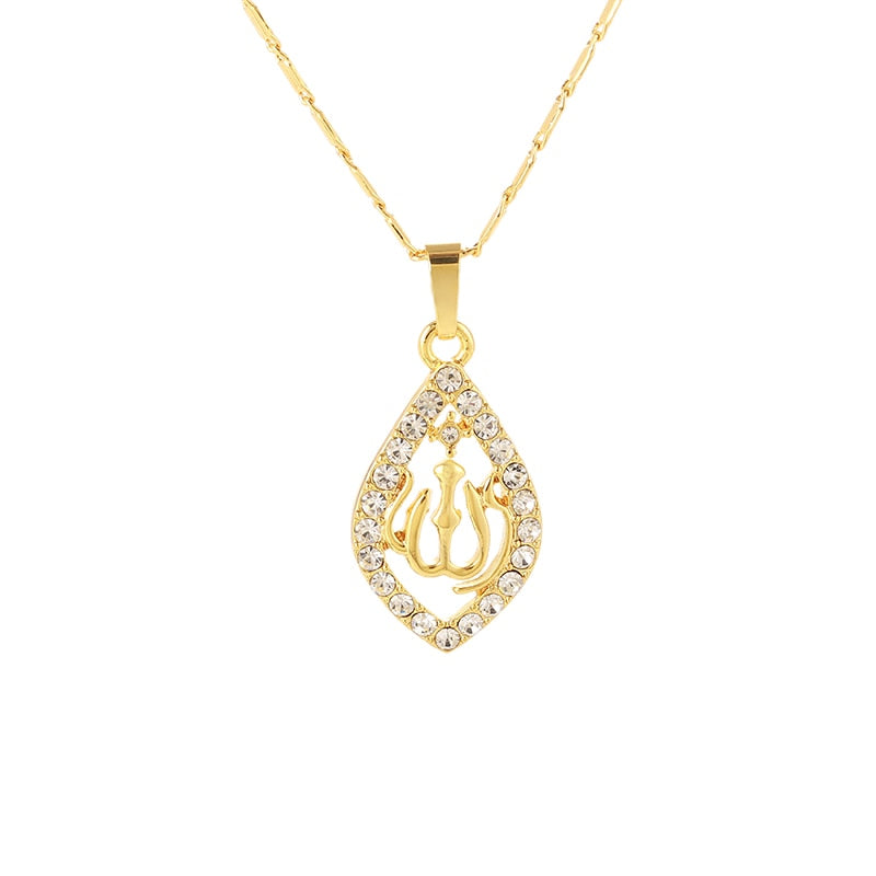 Oval Shape Zirconia Muslim/Islamic/Allah/Ahmed/Arab Religious Pendant Necklace Jewelry - Unisex