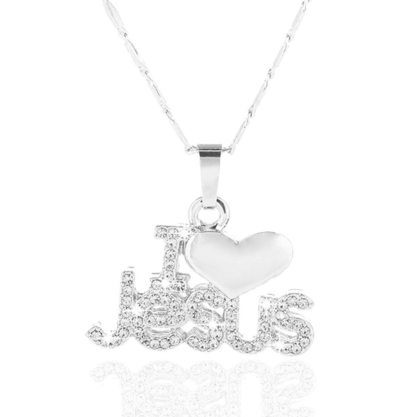 "Gold Color Christian Heart Zircon Pendant ""I Love Jesus"" Necklace - Beautiful Jewelry Gifts"