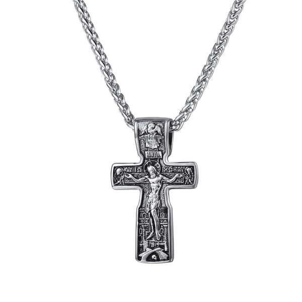 Men's Stainless Steel Religious Vintage Gold Crucifix Jesus Cross Catholic Pendant Necklace Jewelry