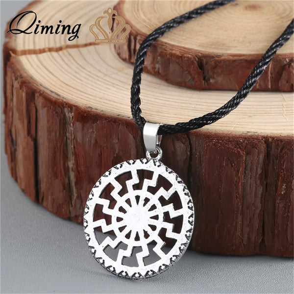 Viking Valknut Round Pagan Religious Slavic Silver Steampunk Pendant Necklace Jewelry