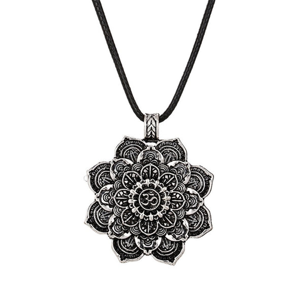 Religious Amulet Lotus Flower Mandala Pendant Necklace Charm Jewelry & Alloy/Leather Chain - Unisex