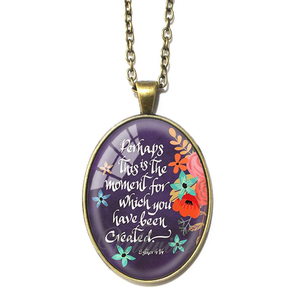 Women's Vintage Oval Glass 32 Bible Psalm Proverb Verses Pendant Necklace - Christian Jewelry Gifts