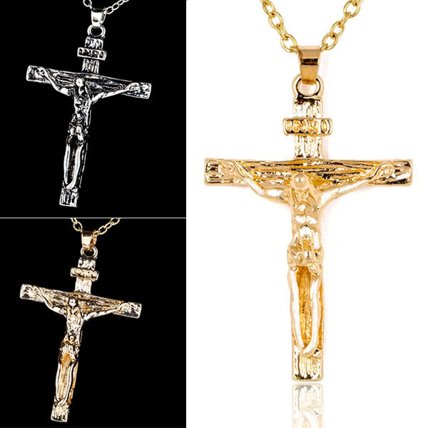Silver Gold Color INRI Crucifix Jesus Cross Necklace Pendant Jewelry - Unisex