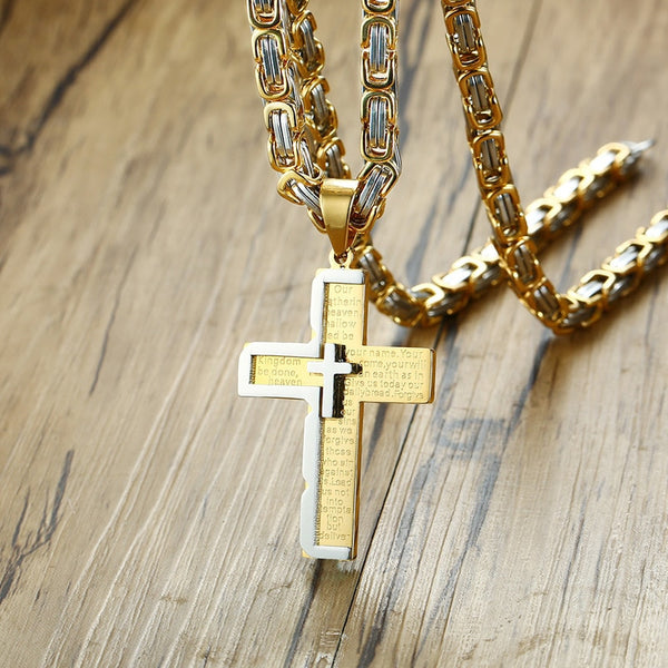 Men's Geometric  Byzantine Stainless Steel Crucifix Cross Pendant Necklace - 5 Unique Designs