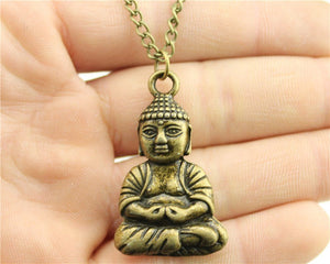 Antique Gold, Silver, Bronze Color Plated Buddha Pendant Necklace - Religious Jewelry Gifts