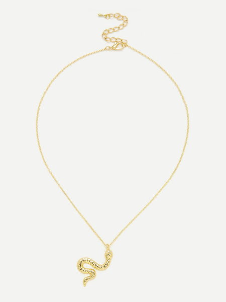 Women's Gold Metal Snake Pendant Chain Necklace