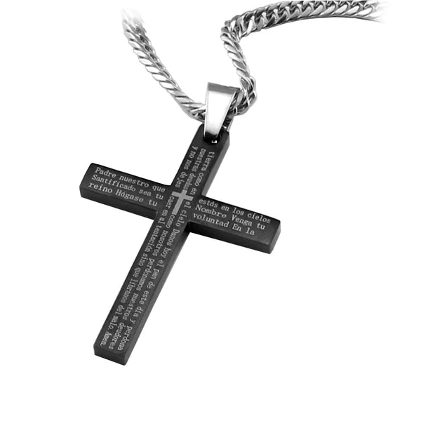 "Black Stainless Steel Spanish Scripture Lords Prayer Cross Pendant including 26"" curb link chain.. - Spiritualstore4u"