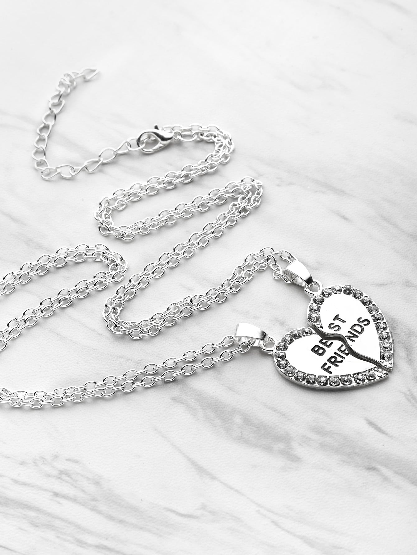 Silver Heart Shaped Rhinestone Trim  Best Friends Friendship Necklace  - 2pcs