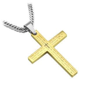"Stainless Steel Spanish Scripture Gold Cross Pendant including 26"" lobster clasp curb link chain... - Spiritualstore4u"