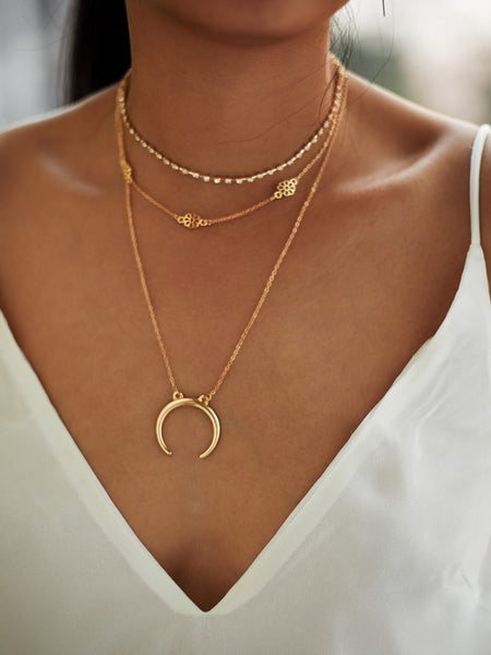 Women's Gold Moon Pendant 3 Piece Choker Necklace With Gemstones