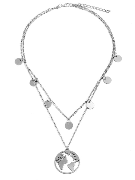 Women's Silver Earth & Disc Layered Chain Necklace