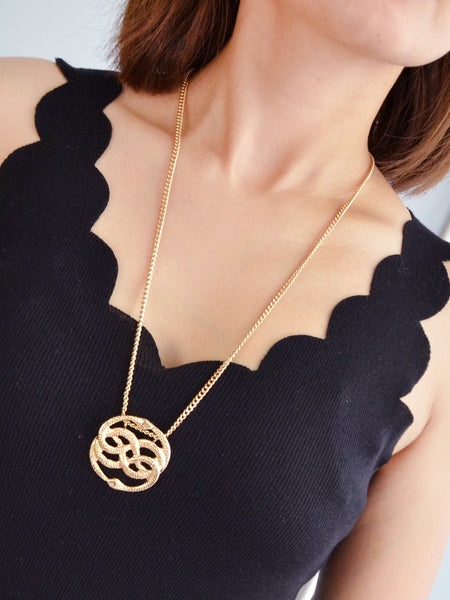 Women's Gold Two Snake Pendant Necklace