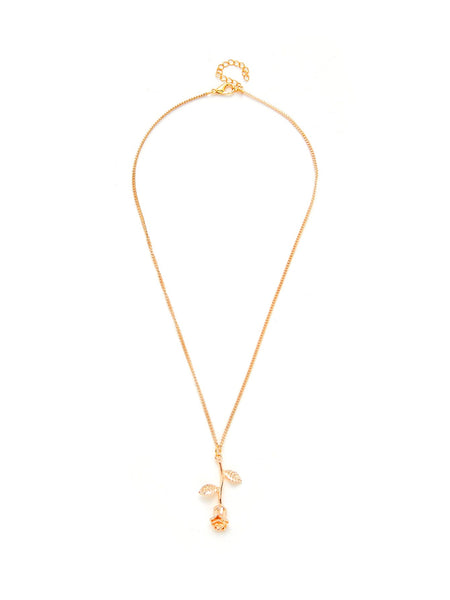 Women's Rose Flower Pendant Gold Chain Necklace