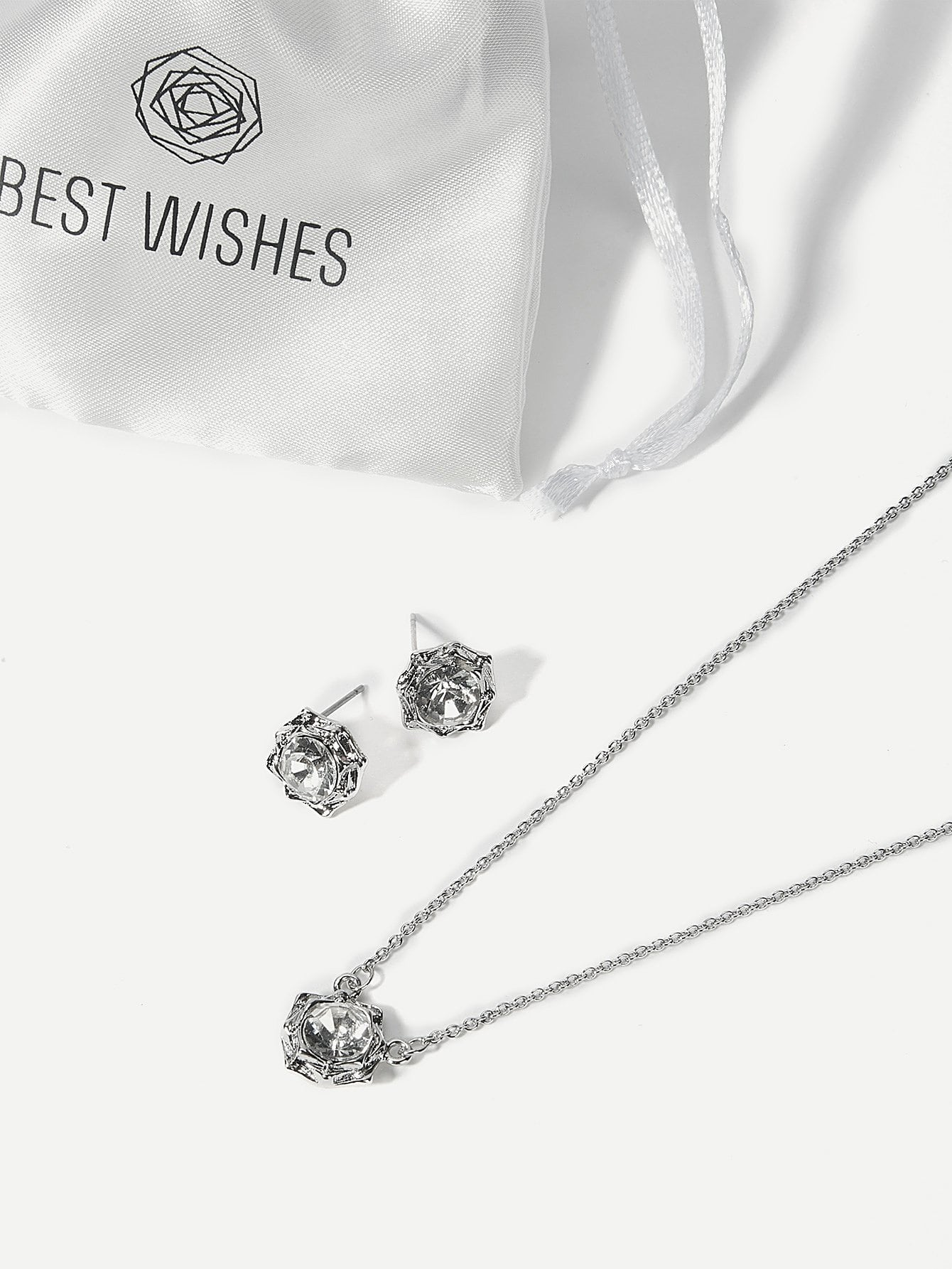 Women's Rhinestone Pendant Necklace & Stud Earrings Set