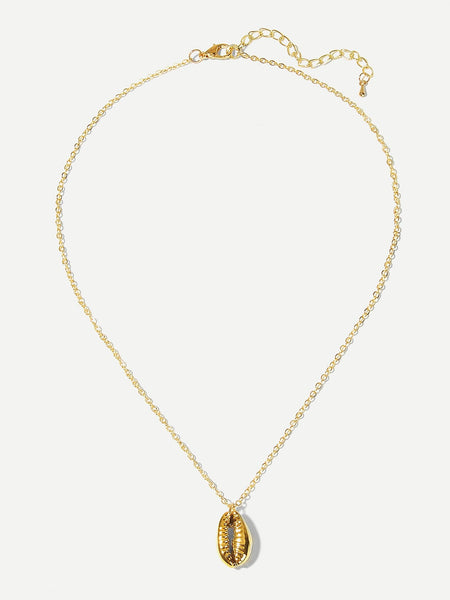 Women's Gold Metal Shell Pedant Chain Necklace