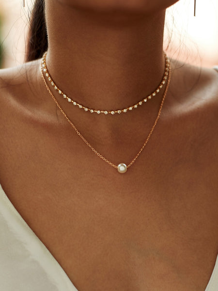 Women's Gold Faux Pearl Pendant Rhinestone Choker Necklace 2pcs