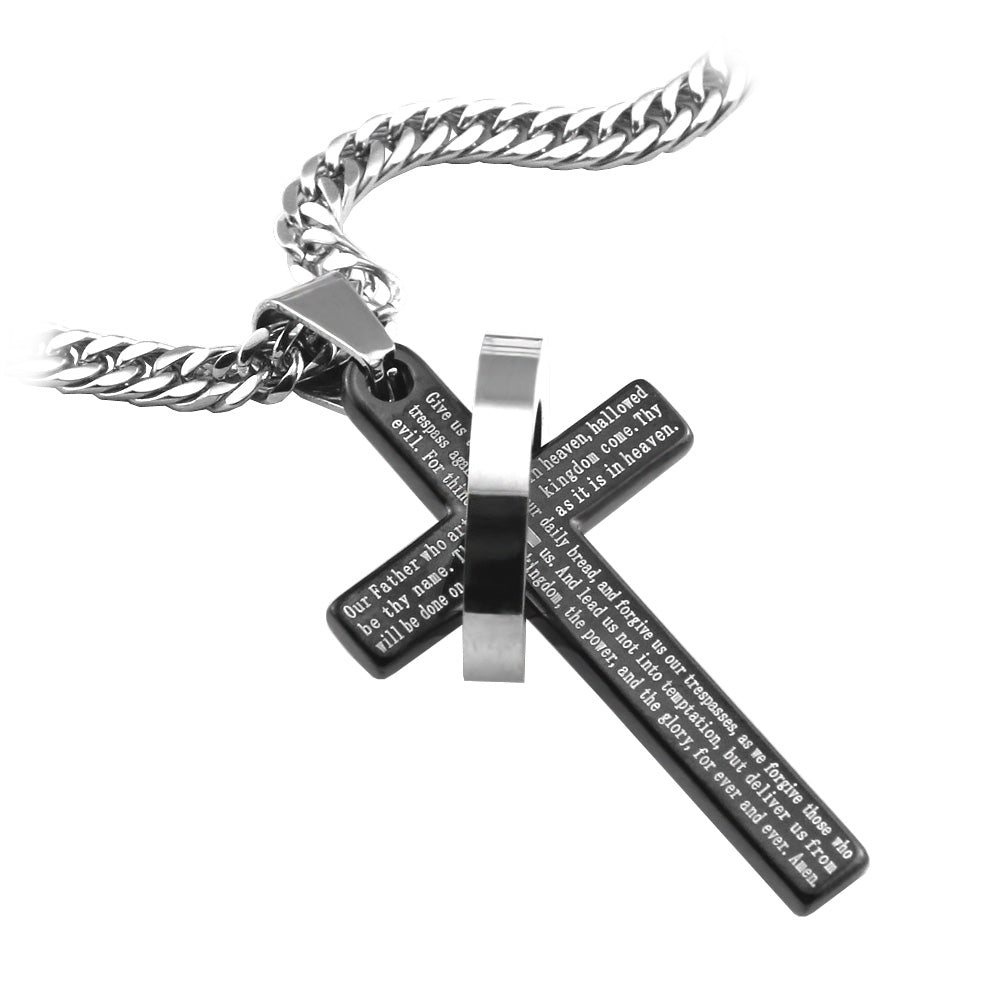 "Black Lord's Prayer Ring Cross Pendant in English Scripture with 26"" lobster clasp curb chain... - Spiritualstore4u"